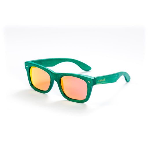Mawaii Bamboo Kapua Koa Sunglasses, Green & Red