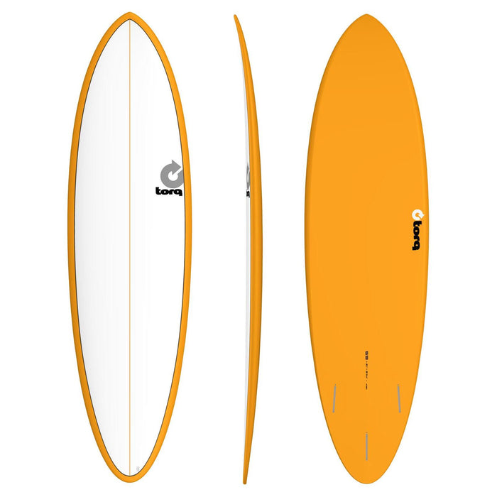 TORQ Epoxy 6.8 Funboard White & Orange Surfboard