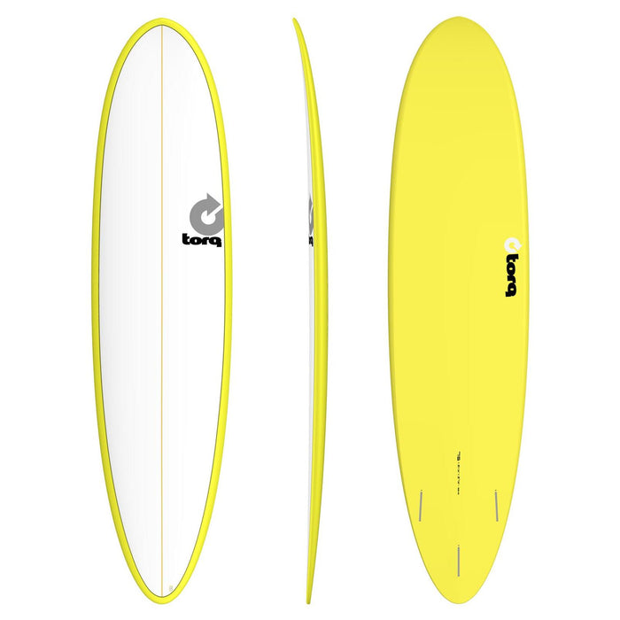 TORQ Epoxy 7.6 Funboard White & Yellow Surfboard