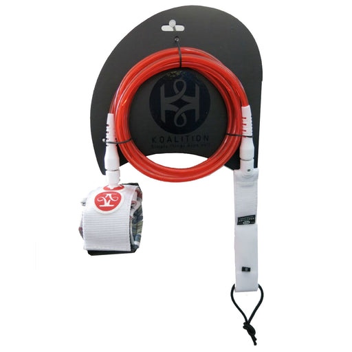 "KOALITION , 9' 0"" Red Surfboard Knee Leash"
