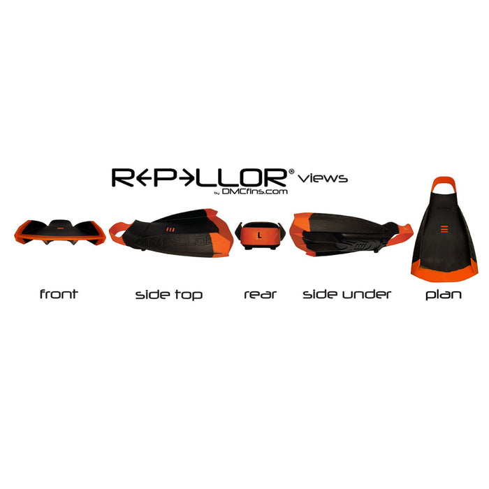DMC REPELLOR XL Orange & Yellow Bodyboard Fins