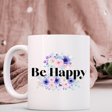 Be Happy 11oz Ceramic Mugs