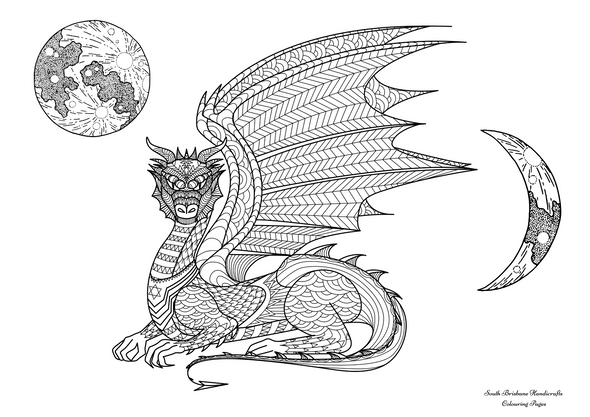 Children's Colouring Pages Dragon Moon