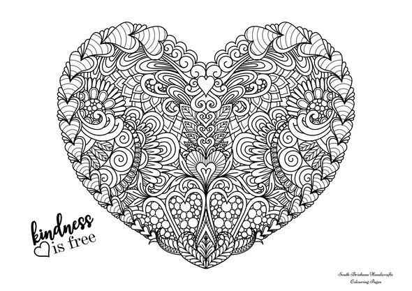 Free Colouring Pages Kindness Is Free Heart
