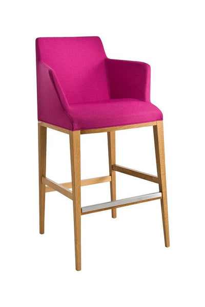 Bloom High Stool c/w Wood Legs & Arms-Chairs & More-Contract Furniture Store