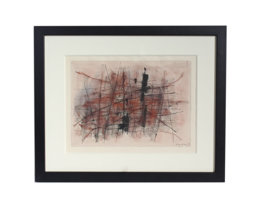 Raymond Grandjean 1956 Signed Watercolor and Ink Abstract Painting