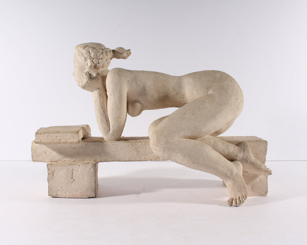 Henri Albert Lagriffoul Signed Clay Sculpture of a Woman Reading