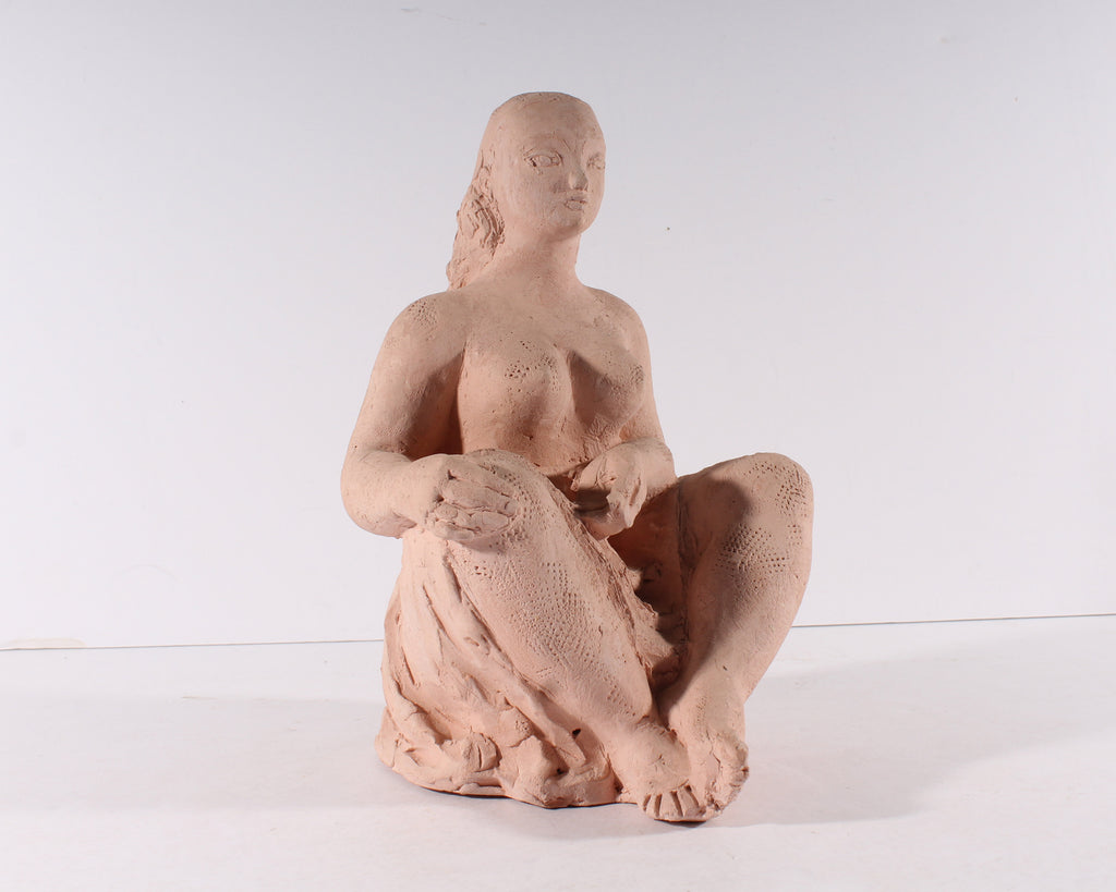 Antonuicci Voltigerio Volti Signed Clay Sculpture of a Nude Woman