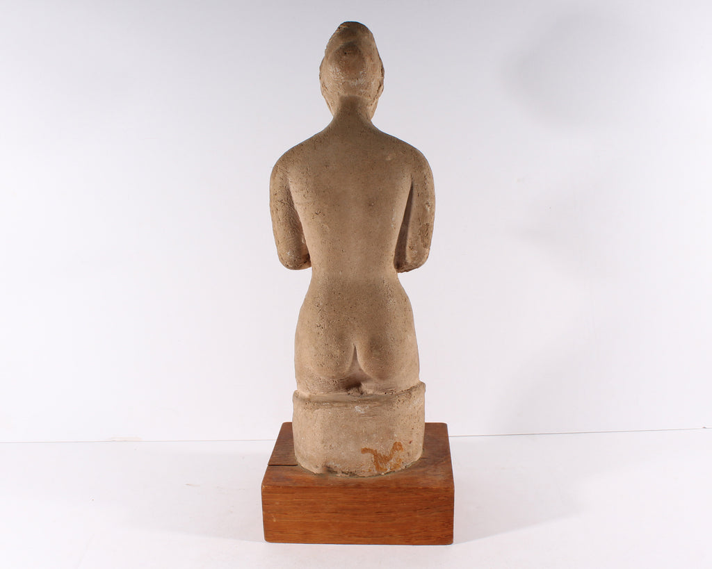 Henri Albert Lagriffoul Style Clay Sculpture of a Nude Woman