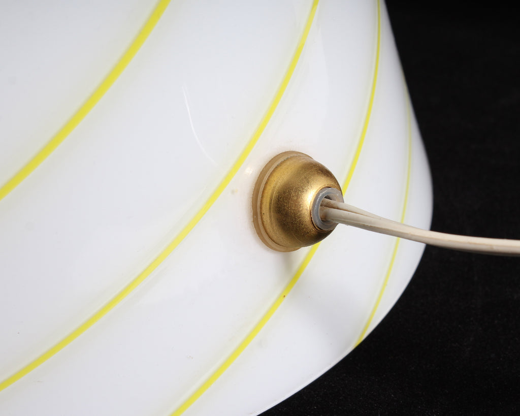 Italian 1970s White Glass Table Lamp with Yellow Stripes