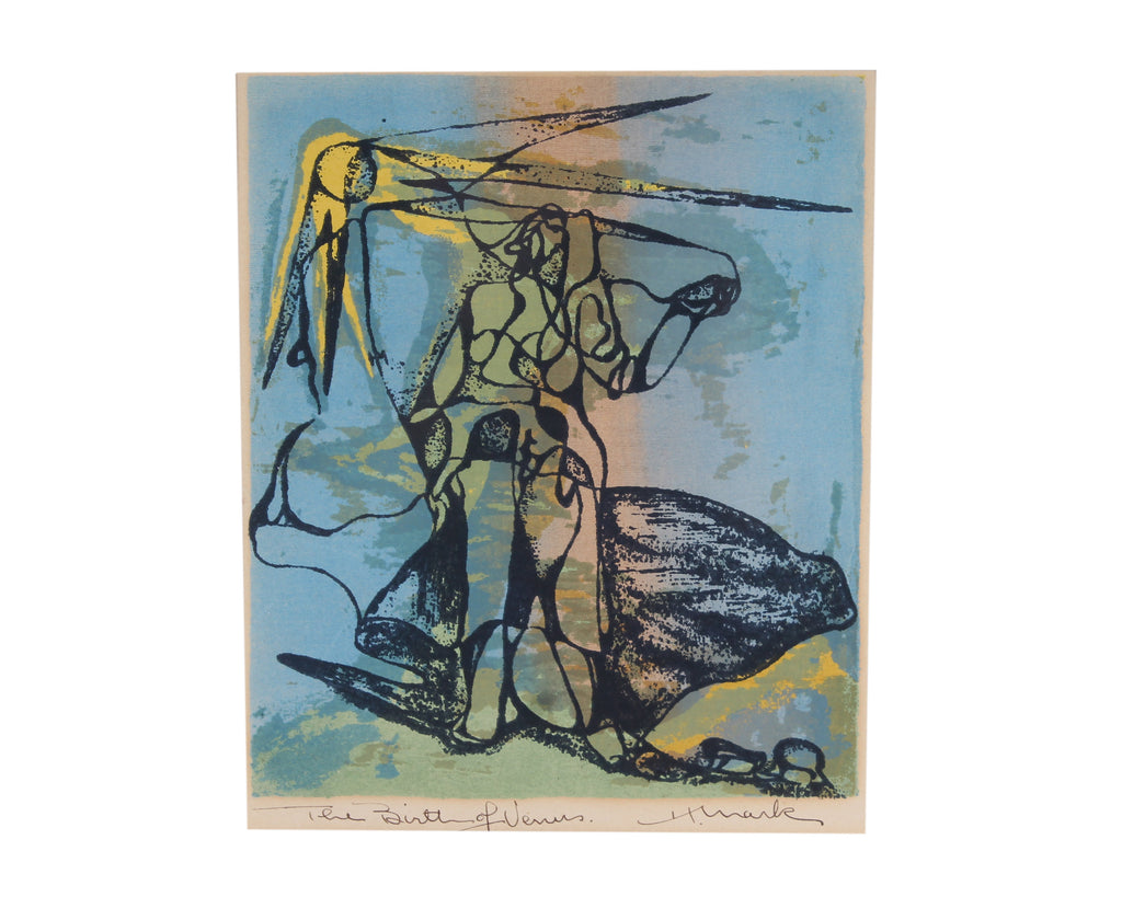 "Henry Mark Signed Mid-Century Abstract Serigraph ""Birth of Venus"""