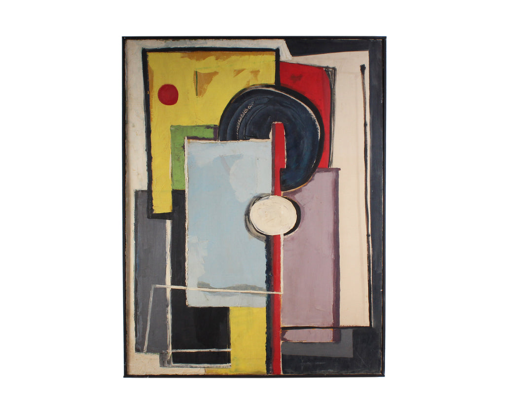 Oil on Canvas Mid-Century Abstract Geometric Painting