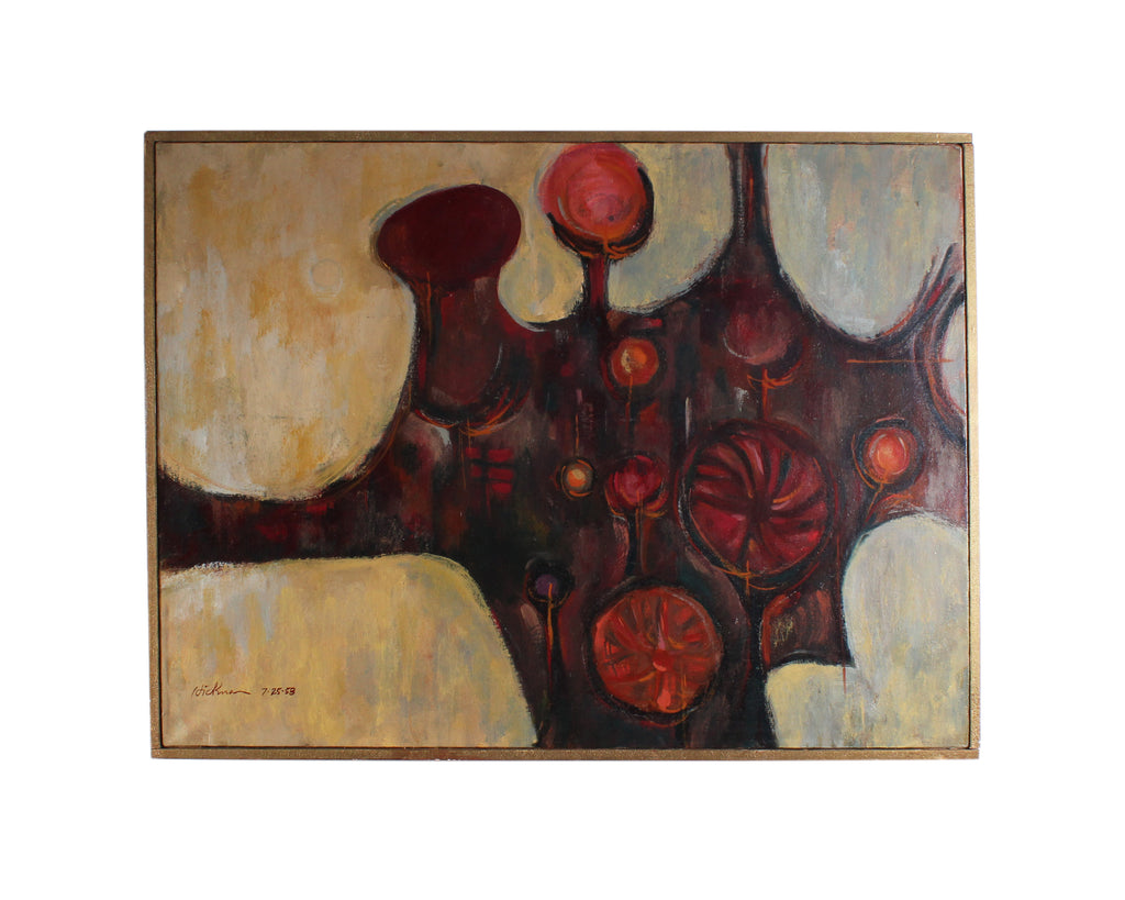 Hickman 1958 Signed Oil on Canvas Abstract Painting