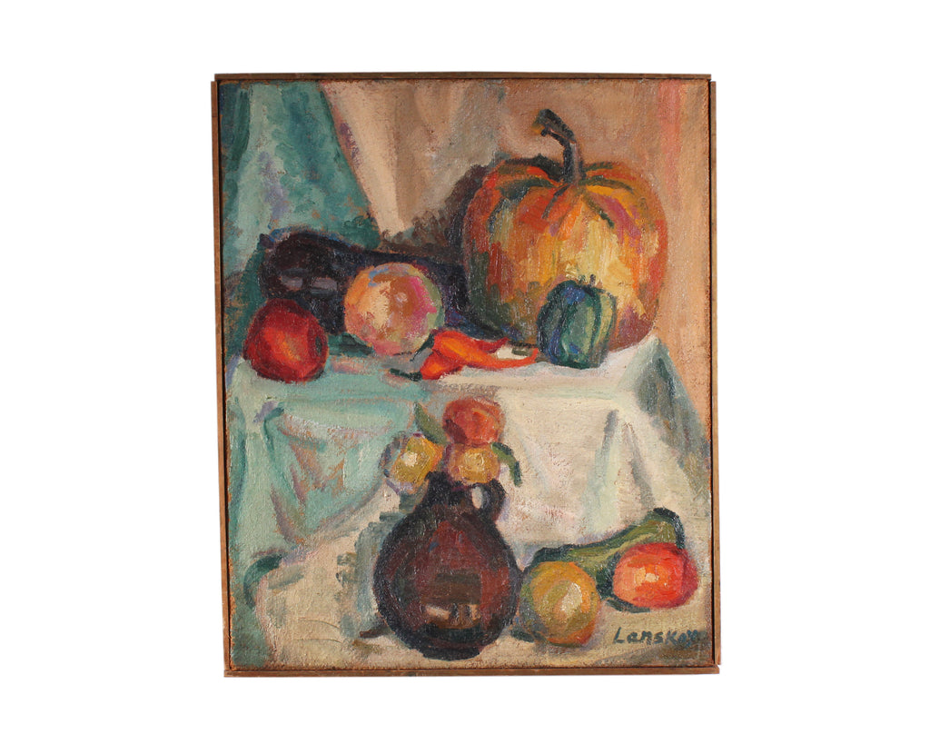 Andre Lanskoy Signed Oil on Burlap Still Life Painting