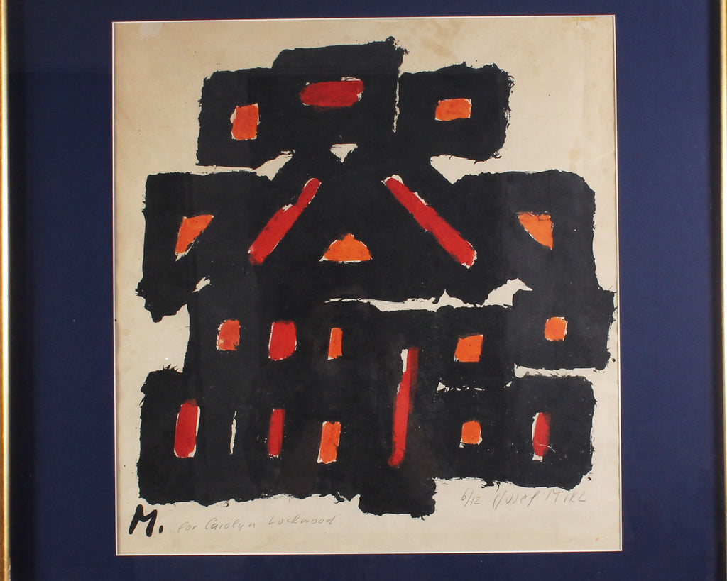 Josef Mikl Signed Limited Edition Abstract Lithograph with Hand-Coloring