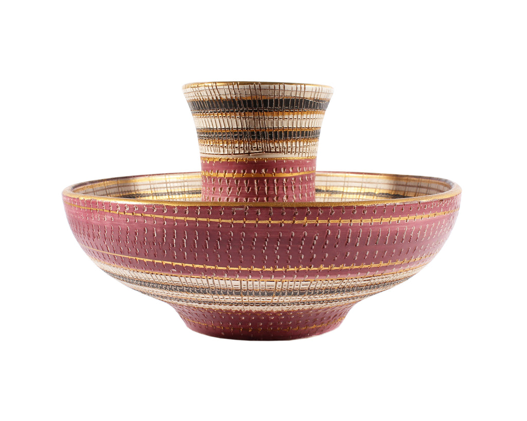 Bitossi Italian Ceramic Pink, Gold, and White Bowl and Vase Seta