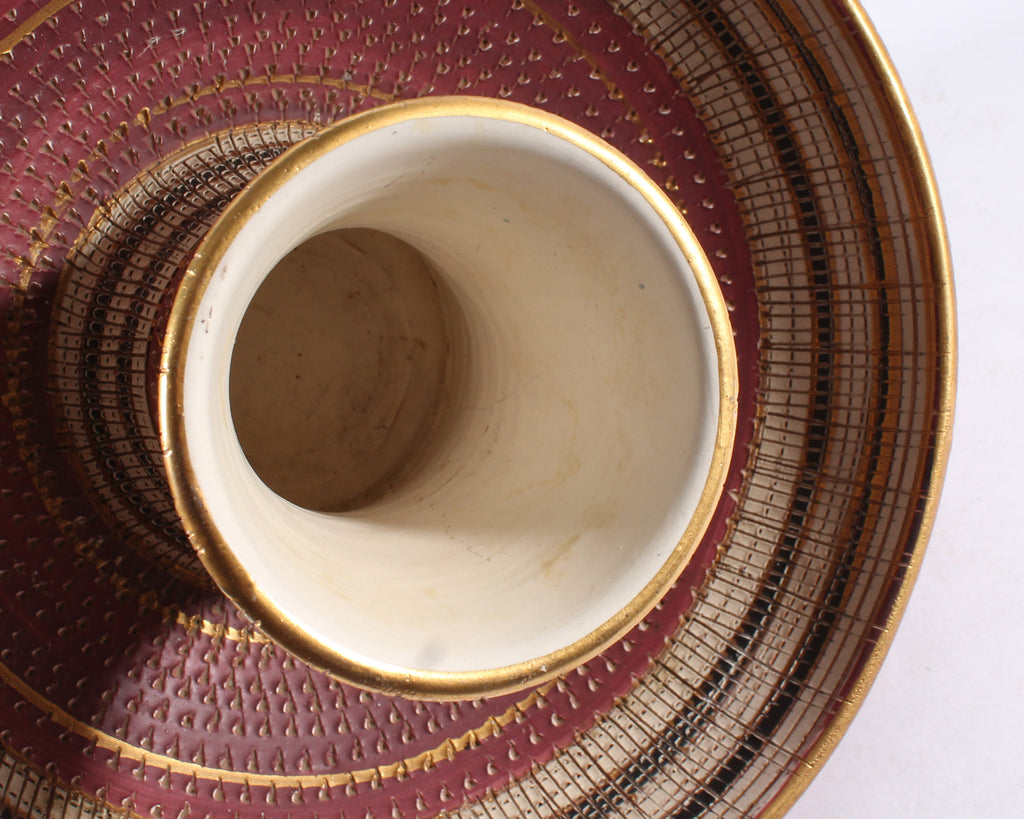 Bitossi Italian Ceramic Pink, Gold, and White Bowl and Vase