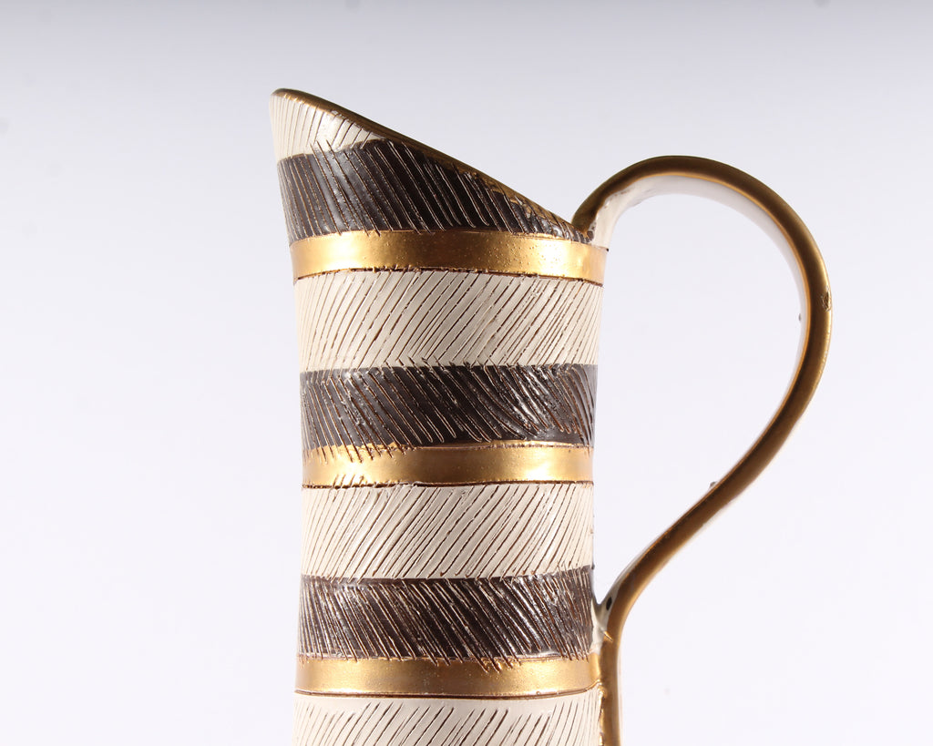"Bitossi ""Seta"" Italian Ceramic Brown, Gold, and White Pitcher"