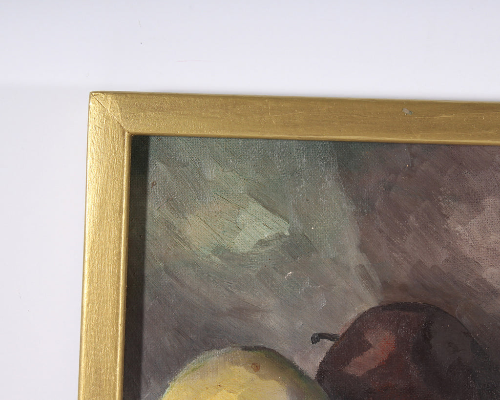 Frederick Lyman Signed Oil on Board Still Life of Apples