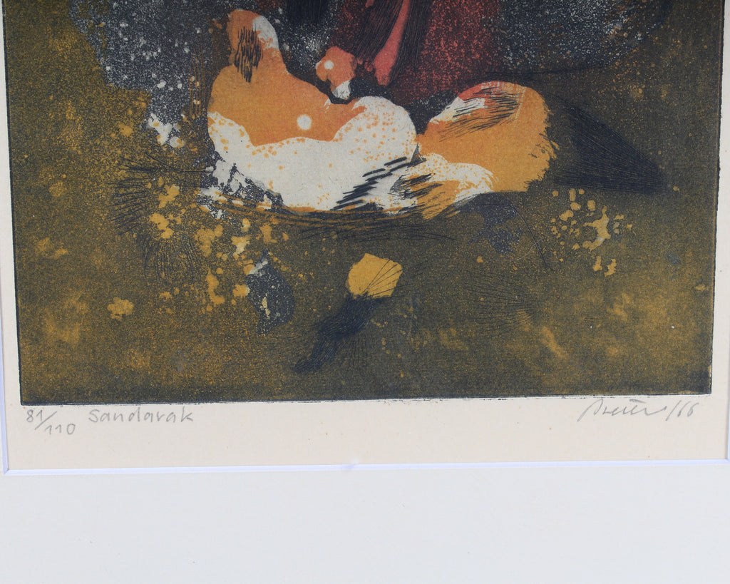 "Florian Breuer 1966 Signed Limited Edition Aquatint ""Sandarak"""
