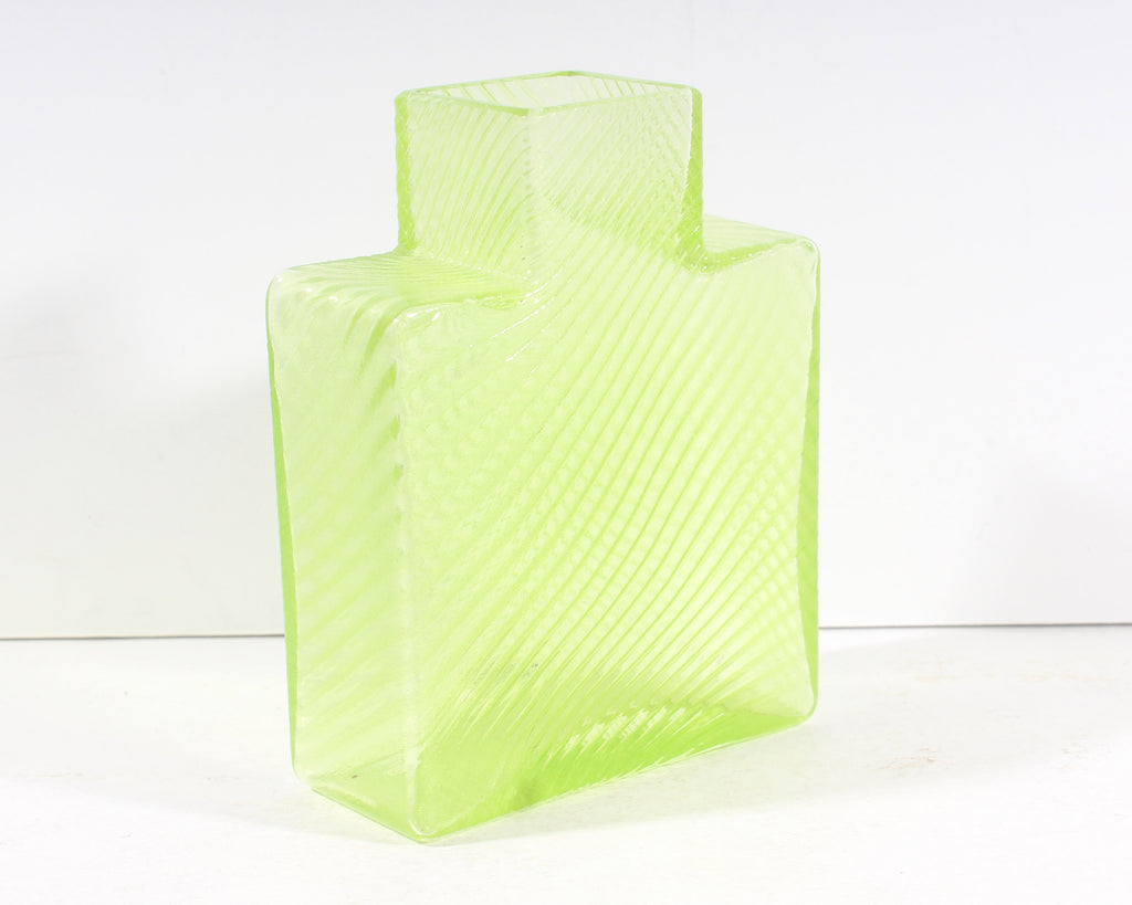 Bertil Vallien Kosta Boda Swedish Striped Green Square Bottle Vase