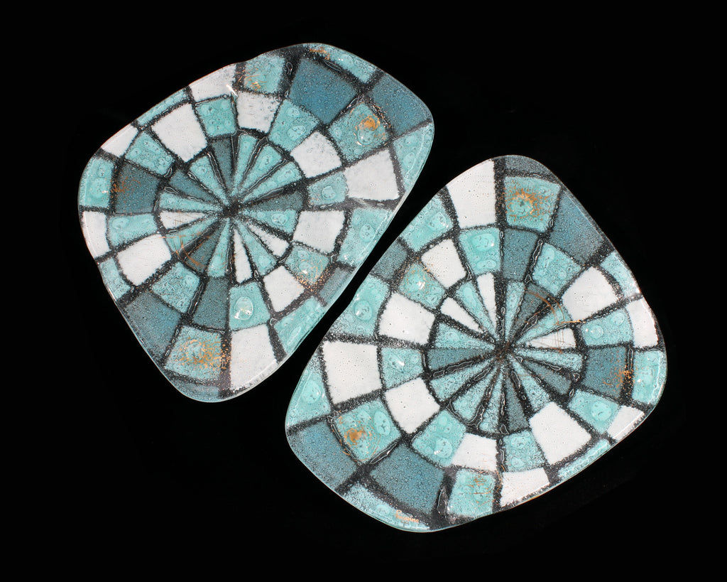 Vintage Higgins Fused Glass Blue and White Dishes