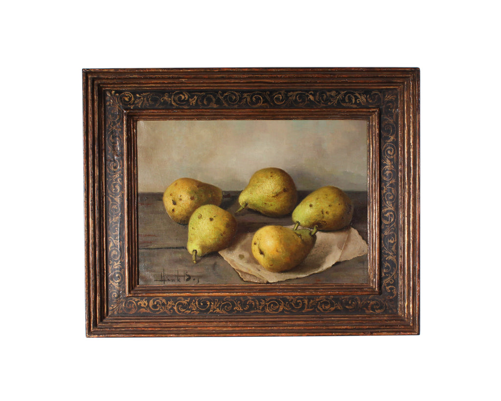 "Henk Bos Signed Oil on Canvas Still Life Painting ""Pears"""