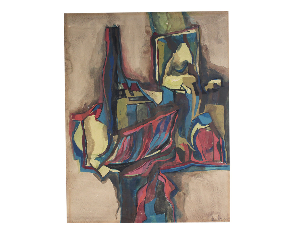 Mid-Century Gouache and Watercolor Abstract Still Life Painting