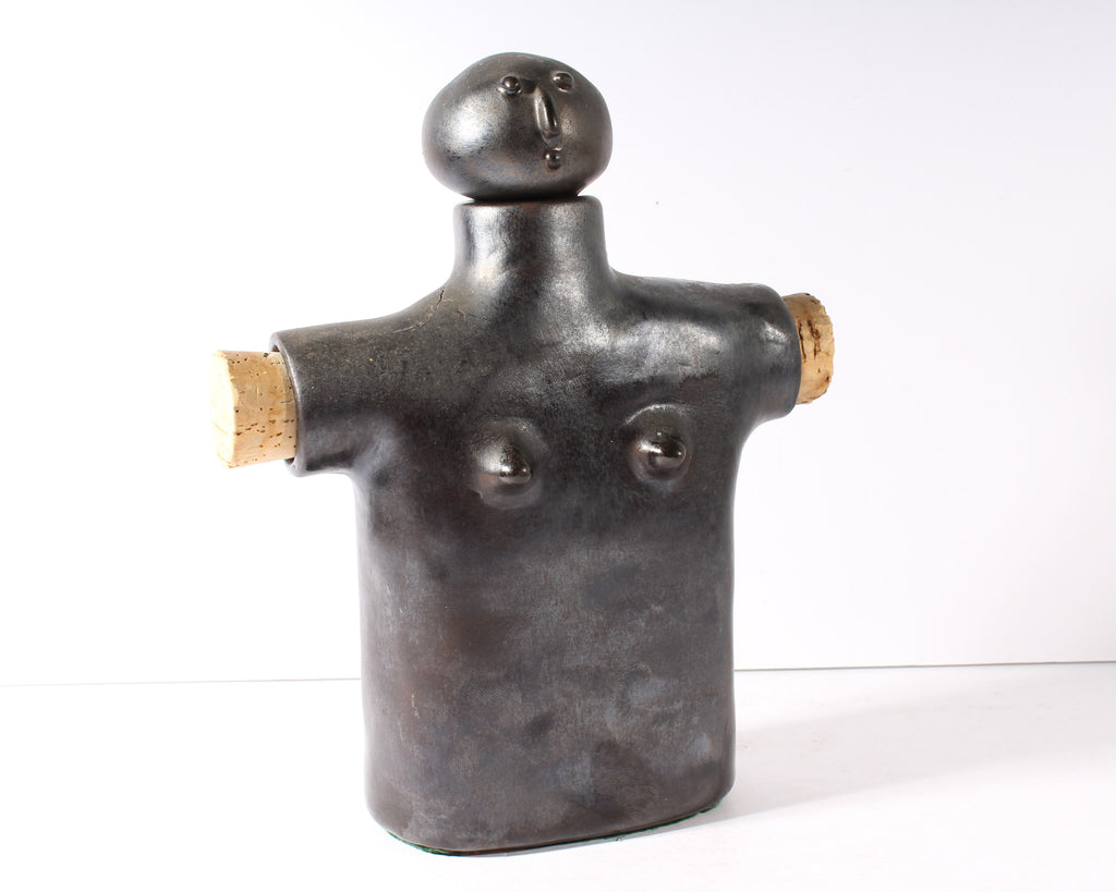 Jeri Summers Female Figure Pottery Flask Sculpture