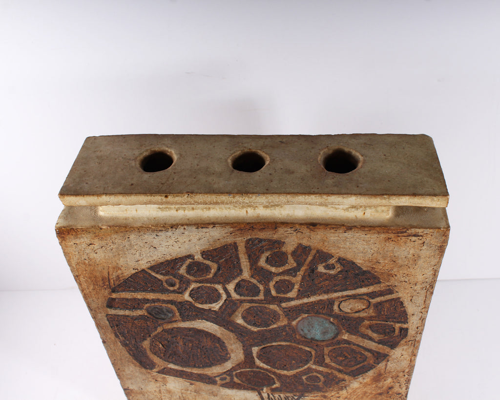 Steve Moore Signed Stoneware Pottery Square Vase with Incised Design
