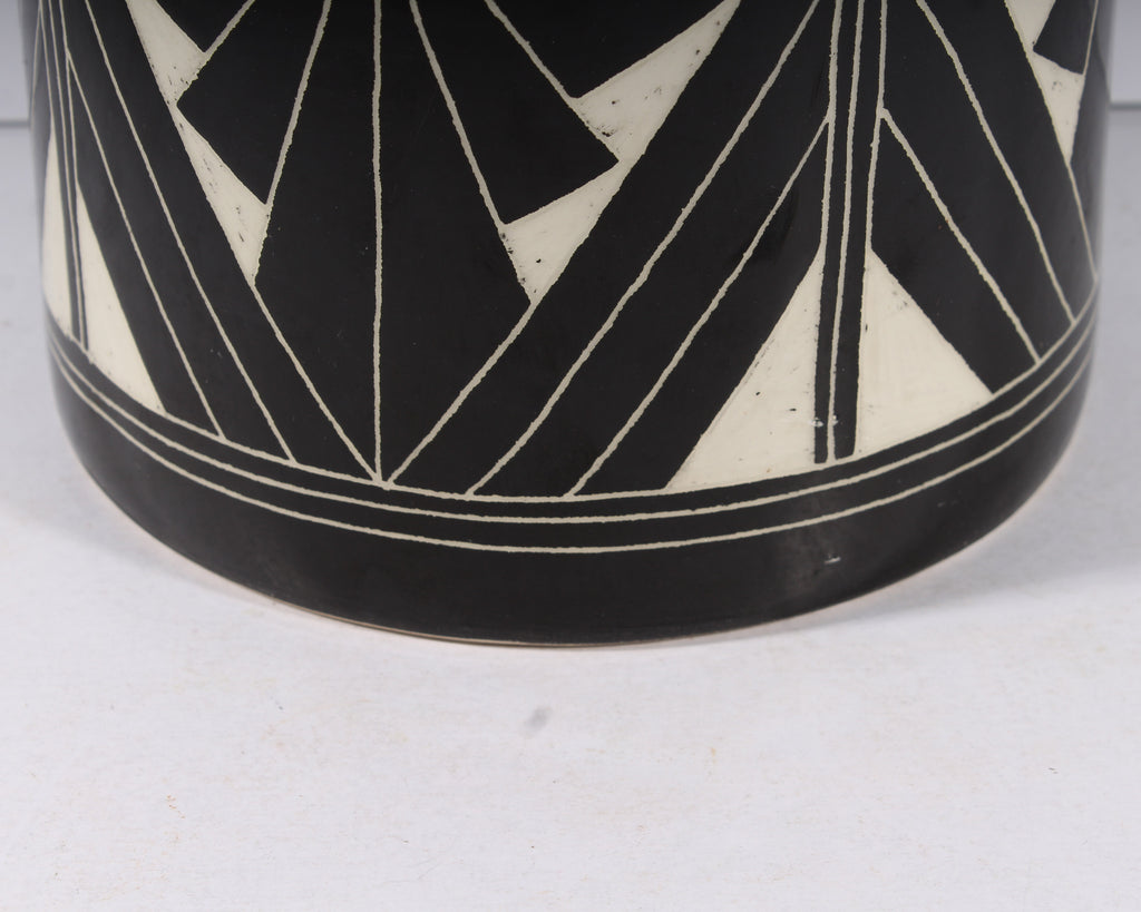 Curras Brothers 1992 Ceramic Black and White Floor Vase Umbrella Stand