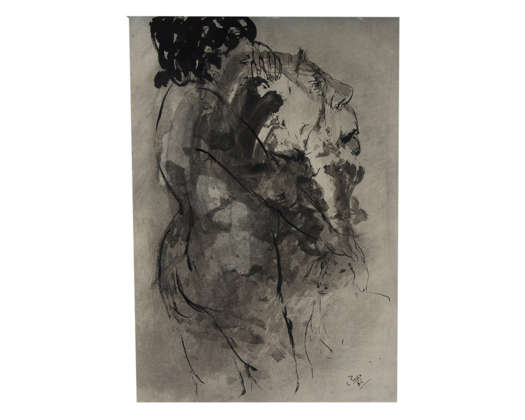 Mario Russo Signed 1962 Ink Painting of Two Figures
