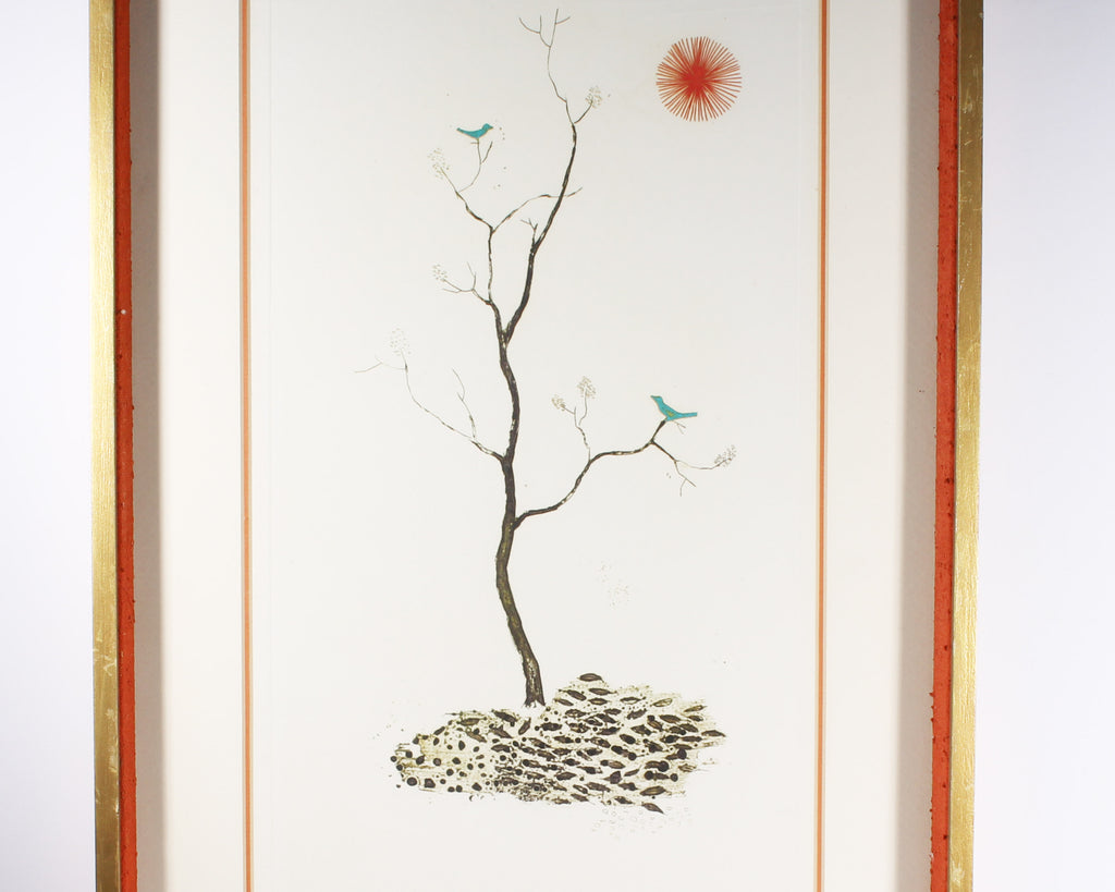 Kenji Ushiku Signed Limited Edition Aquatint with Bluebirds