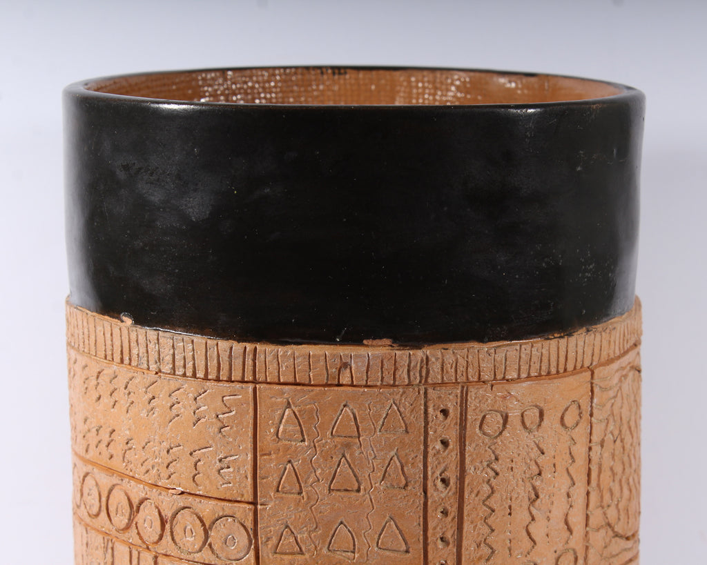 Jim Summers Pottery Vase Canister with Incised Design