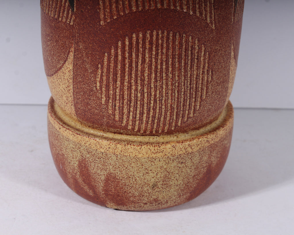Carol McFarlan Signed Studio Pottery Vase with Geometric Design
