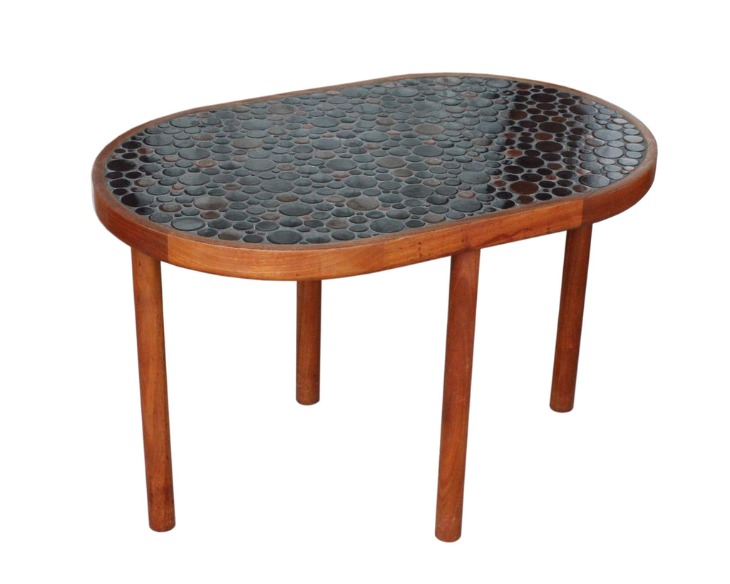 Martz Marshall Studios Mid Century Modern Walnut and Round Tile Top Table