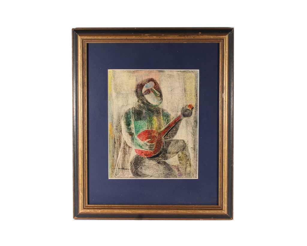 Saul Steinlauf Signed Abstract Cubist Style Monoprint of a Banjo Player