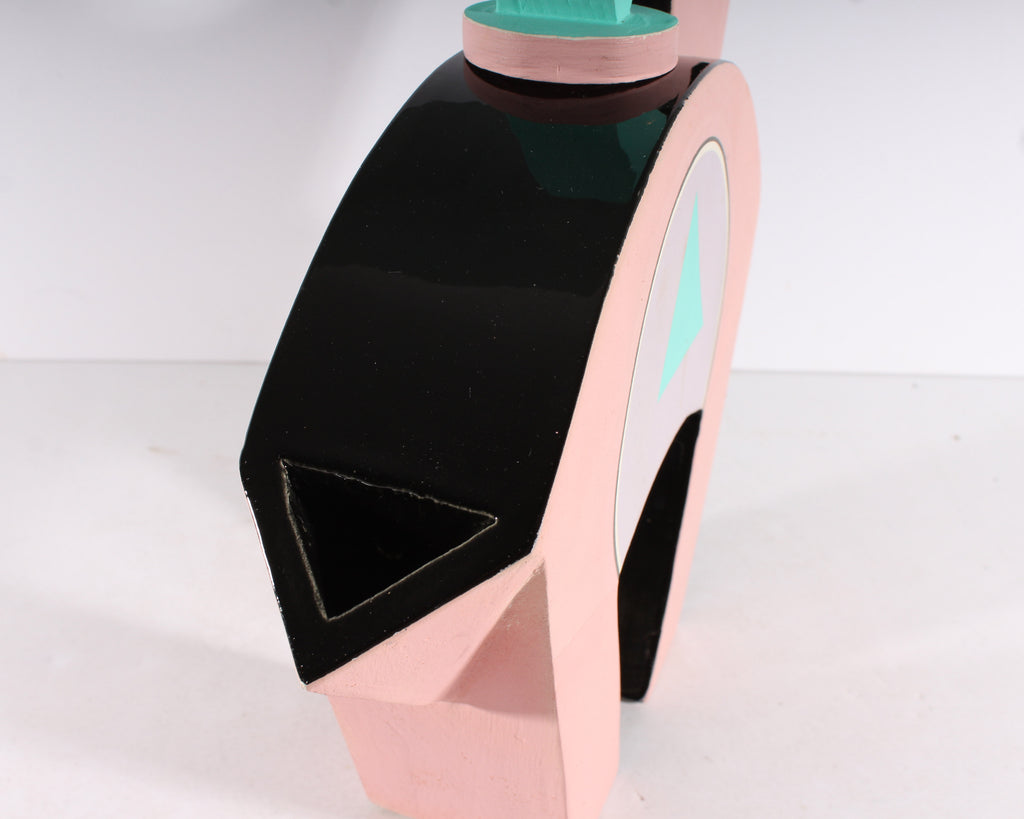 Modernist 1980s Pink and Teal Abstract Ceramic Teapot