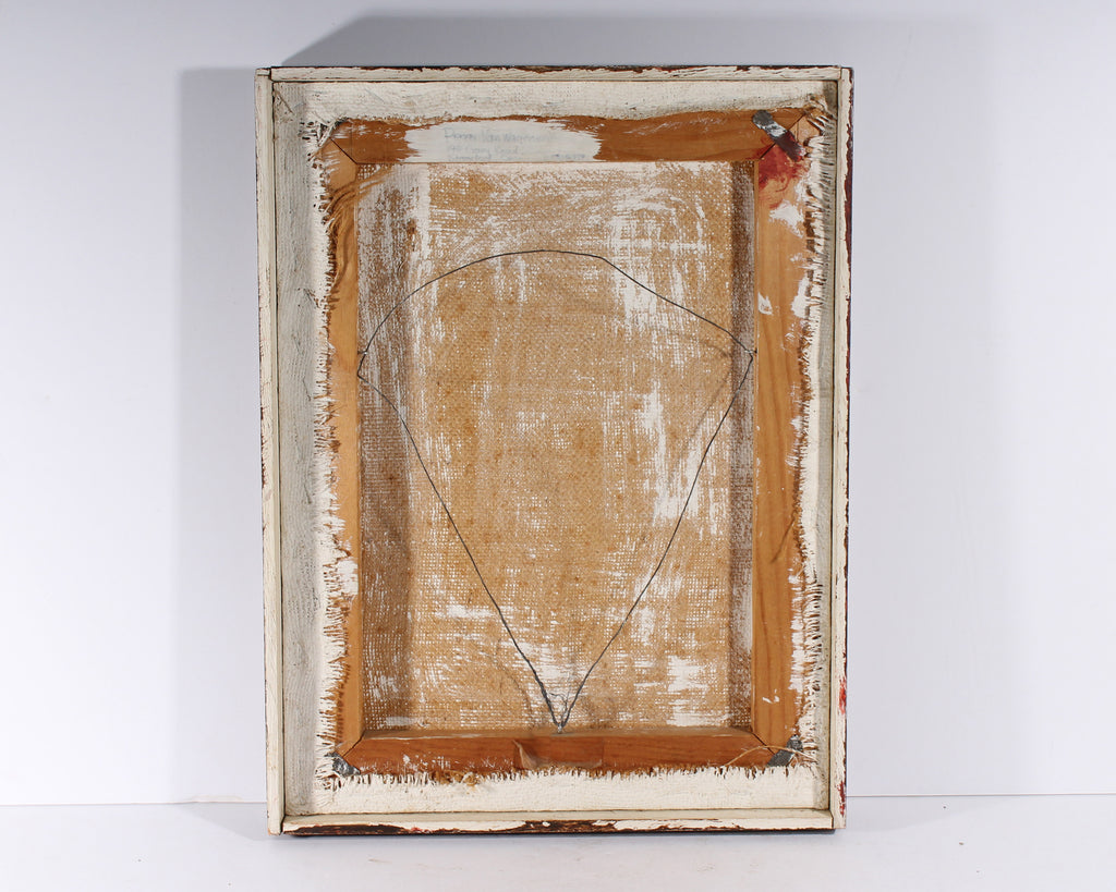 Peggy Van Wagenen Mid-Century Oil on Burlap Abstract Painting