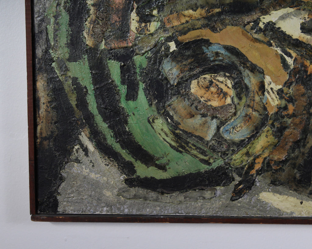 E. Michael Zolpe 1965 Signed Encaustic and Oil on Canvas Abstract Painting