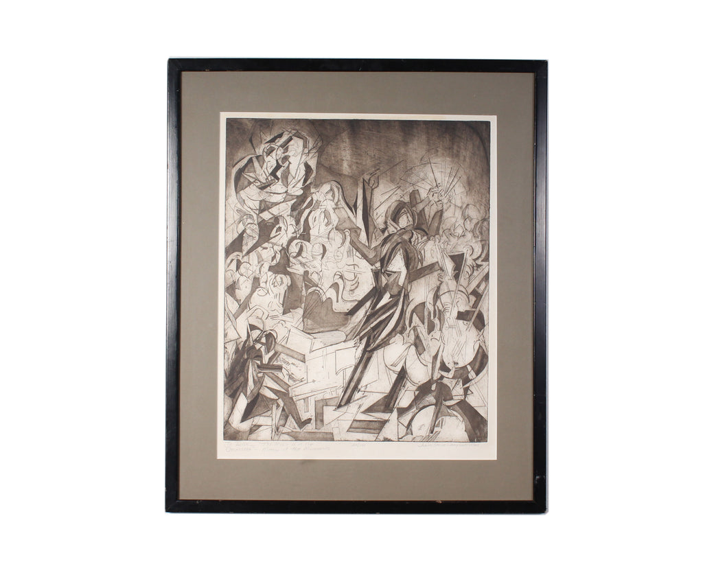 Judith Strite Campbell Signed Limited Edition Etching of a Cubist Orchestra