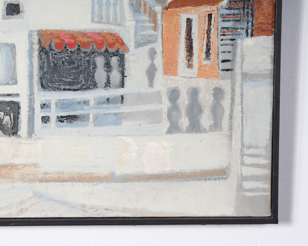 Carolyn Shine Mid-Century Oil on Canvas Painting of a Town