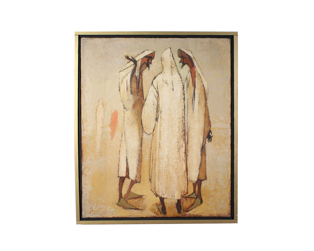 Carolyn Shine 1952 Signed Oil on Canvas of Abstract Figures