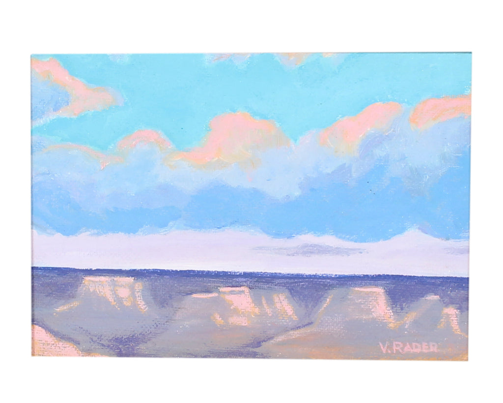 "Vern Rader Signed Miniature Acrylic on Board Landscape ""Canyon Sky"""