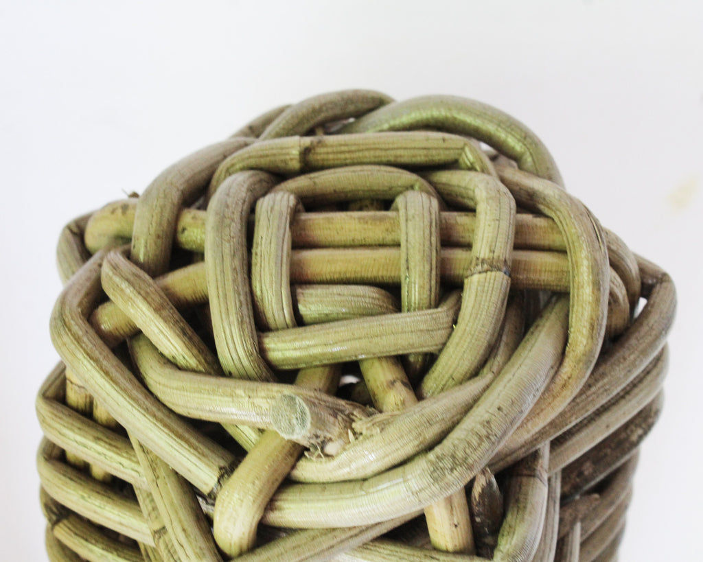 Vintage Wicker Cactus Sculpture
