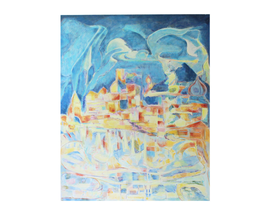 Ronald D. Newman Signed Oil on Canvas Abstract Cityscape Painting