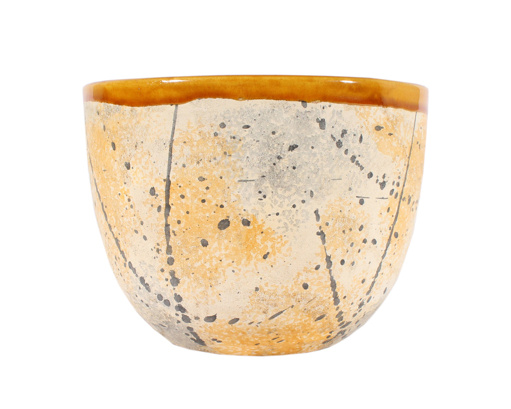 Bitossi Italian Ceramic Yellow and Gray Speckle Planter