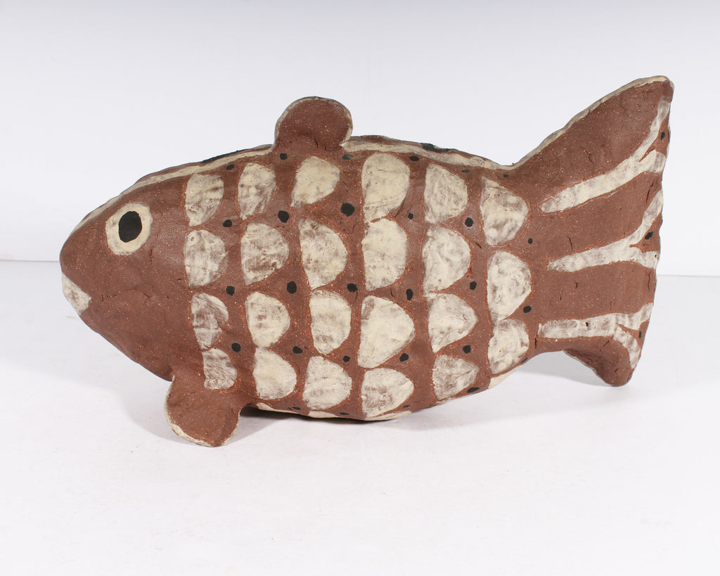 Lisa Smith Signed Art Pottery Fish Rattle Sculpture