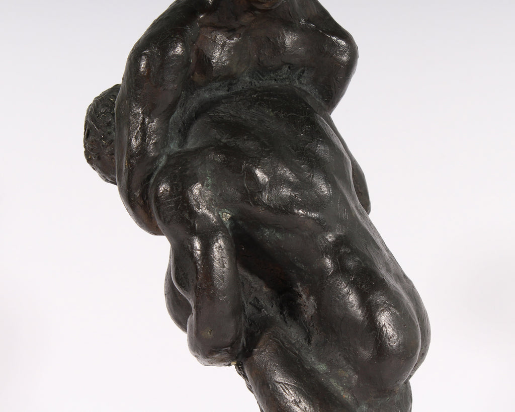 Norman Poirier Signed Bronze Sculpture of Two Nude Figures