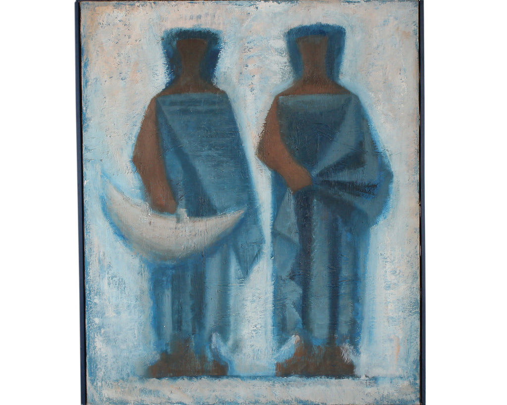 Carolyn Shine Mid-Century Oil on Canvas of Abstract Figures
